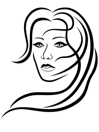 Charming and attractive woman with hair in flow and sensual face, black vector hand drawing on the white background