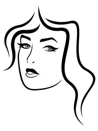Abstract face of attractive and charming lady, black vector hand drawing on the white background