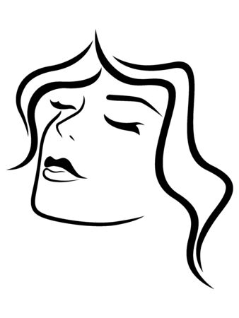 Charming and attractive woman with closed eyes and sensual face, black vector hand drawing on the white background 矢量图像