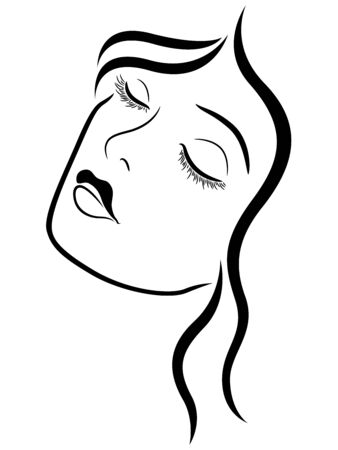 Charming and beautiful woman with closed eyes, side view, black vector hand drawing on the white background
