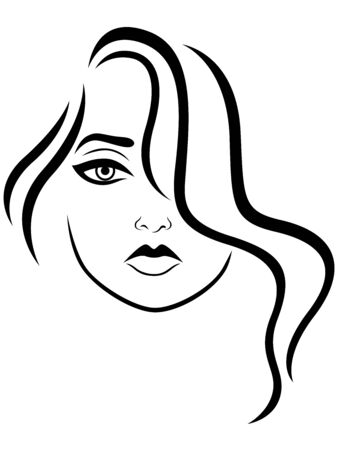 Charming and beautiful young woman with wavy hair covering one eye, black vector hand drawing on the white background