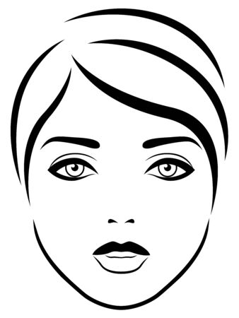 Charming and attractive female face with expressive eyes, black vector hand drawing on the white background
