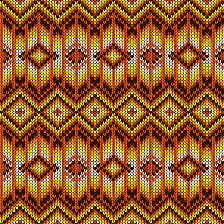 Knitted seamless geometric pattern in yellow, orange, brown and white colors, vector texture of fabric
