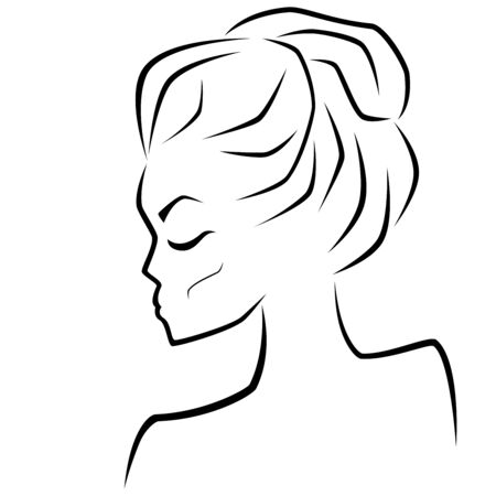 Abstract sensual female face with closed eyes and messy bun hairstyles, hand drawing outline