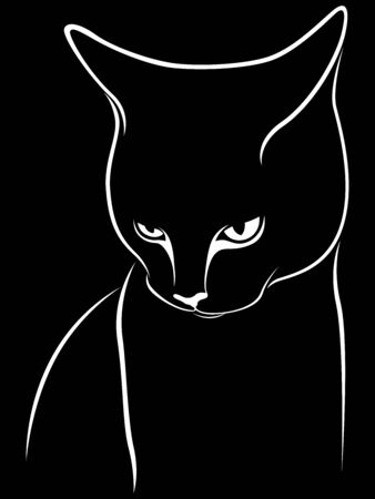 Stencil of abstract cat, tilting his head down, black vector hand drawing on the white background