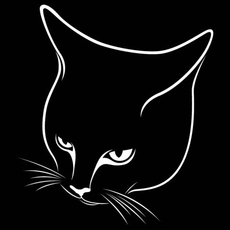 Stencil of abstract cat's muzzle, tilting his head down, black vector hand drawing on the white background