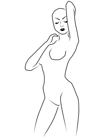 Abstract attractive woman with bald head and closed eyes isolated on the white background, hand drawing outline Vettoriali