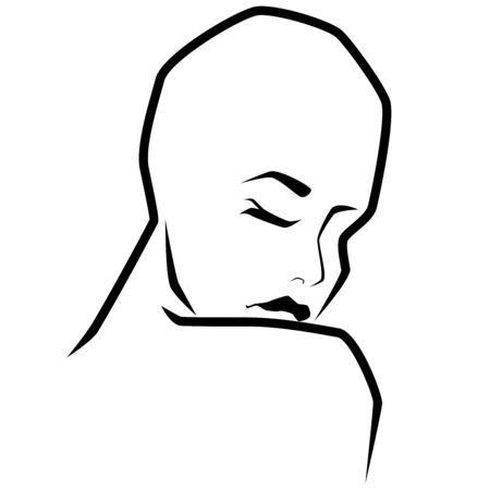 Abstract face of sensual hairless woman leaning head to shoulder with closed eyes, back view, isolated on white background, hand drawing vector outline