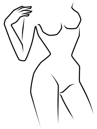Abstract silhouette of woman, slimness part female body, black over white hand drawing vector artwork Illustration