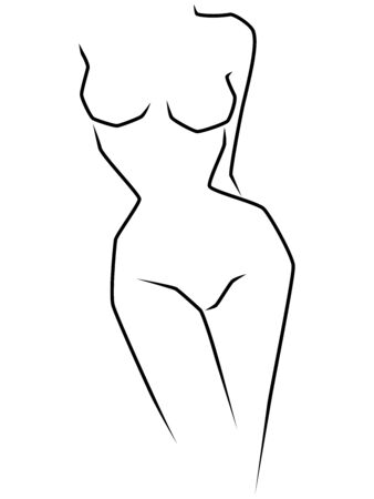 Abstract slimness body of woman with slim waist and big hips, black over white hand drawing vector artwork Foto de archivo - 130474365