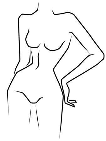 흰색 배경에 고립 된 슬림 허리와 큰 엉덩이를 가진 매력적인 여자, 손 그리기 개요