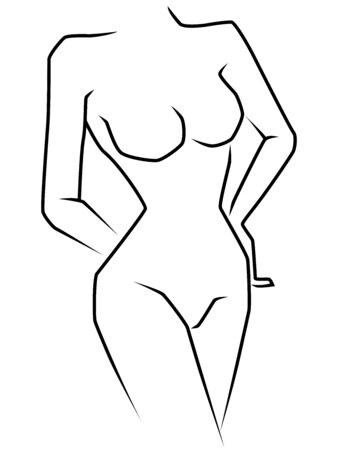 Abstract body of graceful and slender woman isolated on white background, side view, hand drawing vector outline  イラスト・ベクター素材