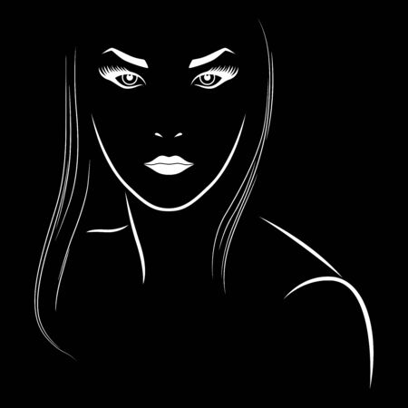Abstract face of sensual woman with long hair, isolated on black background, hand drawing vector outline