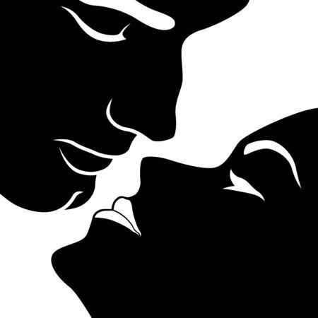 Mujer sensual abstracta inclinó la cabeza hacia atrás antes de besarse con el hombre, plantilla de vector negro aislado sobre fondo blanco