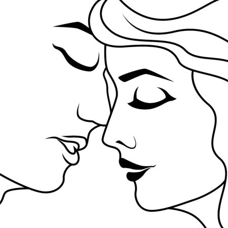 Abstract happy couple in the moment before kiss, isolated on white background, hand drawing vector outline Иллюстрация