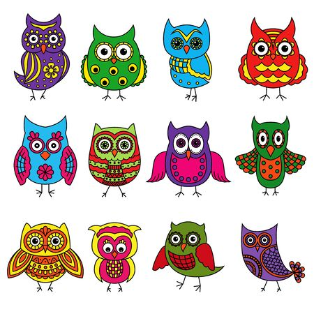 Set of twelve cartoon colorful owls with various patterns isolated on the white background