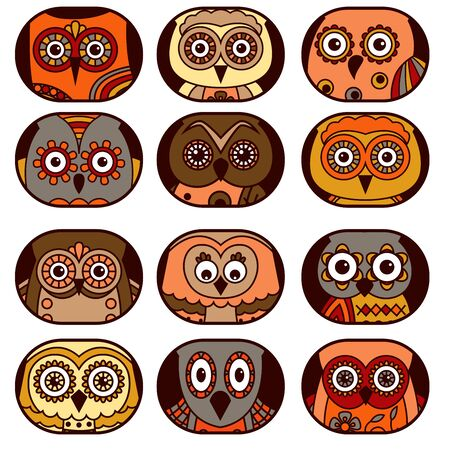 Set of twelve cute owl faces placed in oval and isolated on a white background, cartoon vector black outlines as icons