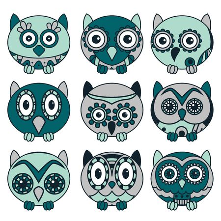 Set of nine cute oval owls in dark turquoise, blue and violet colors isolated on the white background, cartoon vector black outlines as icons Illustration