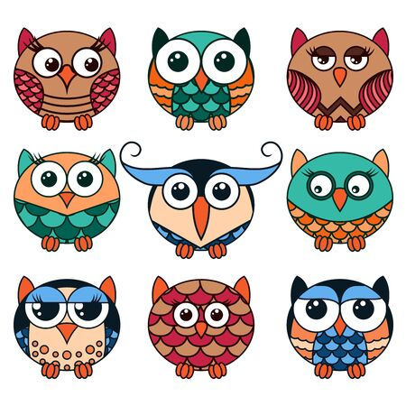 Set of nine funny owls placed in oval forms with various pattern isolated on the white background, cartoon vector illustration as icons