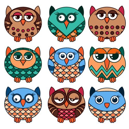 Set of nine cute oval owls in various pattern isolated on the white background, cartoon vector black outlines as icons 写真素材 - 131969044