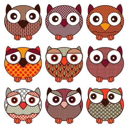 Set of nine cute and funny oval owls with various isolated on the white background, cartoon vector black outlines as icons