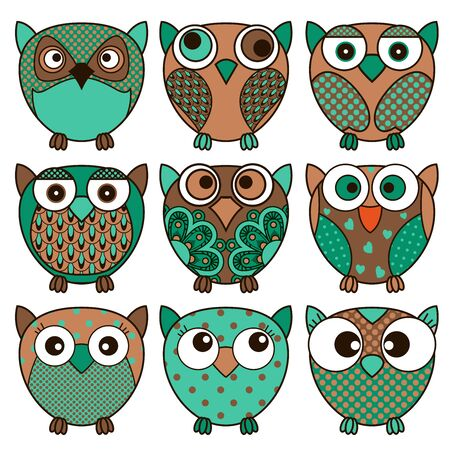 Set of nine cartoon cute oval owls in various pattern and dark colors isolated on the white background, vector outlines as icons