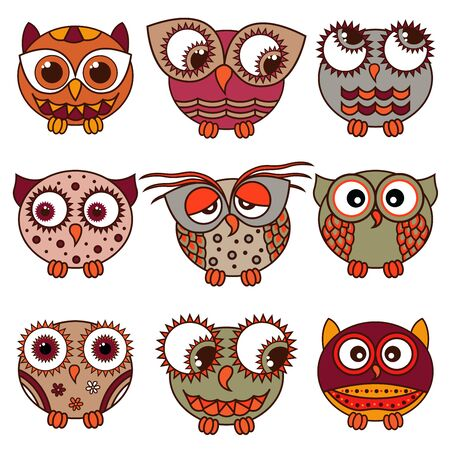 Set of nine funny cartoon owls placed in oval forms with various pattern isolated on the white background, vector illustration as icons