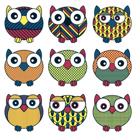 Set of nine cartoon cute and funny oval owls with various isolated on the white background, vector outlines as icons