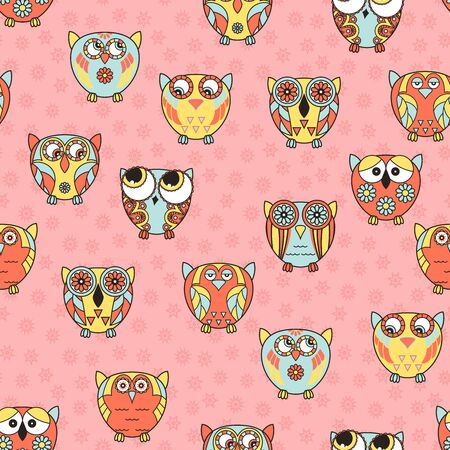 Seamless ornate with colorful funny cartoon owls for baby decoration on the pink pattern background