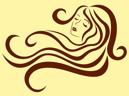 Beautiful woman with long wavy luxury hair in flow and with sensual face, brown vector on the muted yellow background, hand drawing Ilustración de vector