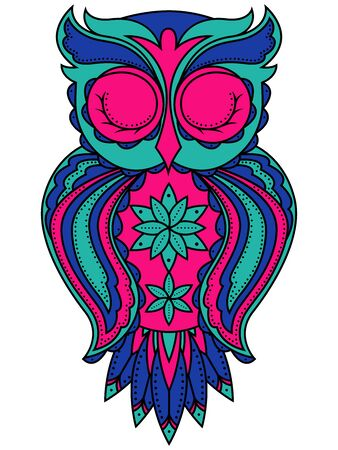 Amusing big owl with long beak and closed eyes in turquoise, blue and pink colors isolated on the white background, cartoon vector artwork