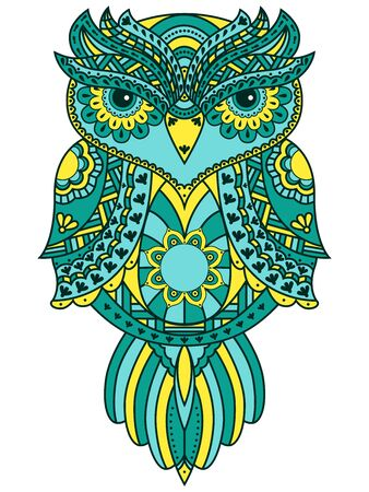 Serious big owl with big eyes and various pattern in turquoise, blue and yellow colors isolated on the white background, cartoon vector artwork  イラスト・ベクター素材