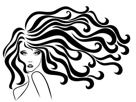Beautiful and adorable woman with long wavy luxury hair in flow, black vector isolated on the white background, hand drawing