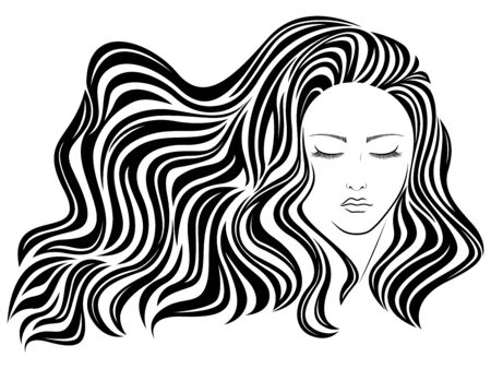 Abstract young beautiful woman with long luxury wavy hair in flow and closed eyes, hand drawing vector outline Ilustrace