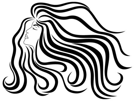 Elegant and charming lady with beautiful hair in flow, sensual face and closed eyes, hand drawing black vector isolated on the white background