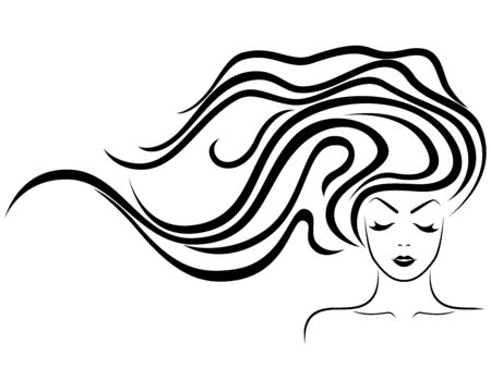 Charming lady with luxuriant wavy beautiful hair and sensual face, hand drawing black vector isolated on the white background Ilustrace