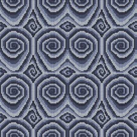 Seamless knitting pattern with swirl elements in muted gray and blue hues, vector pattern as a fabric texture