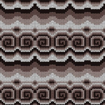 Seamless knitting ornate with swirl elements in muted brown and beige hues, vector pattern as a fabric texture