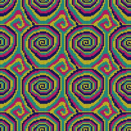 Seamless knitting ornate with swirl elements in bright pink, yellow, blue and turquoise colors, vector pattern as a fabric texture Stock Illustratie