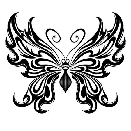 Black stencil ornamental beautiful butterfly isolated on the white background, hand drawing vector illustration Illusztráció