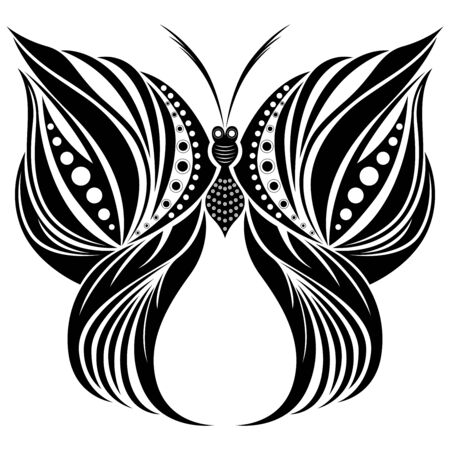 Stencil ornamental black butterfly isolated on the white background, hand drawing vector illustration