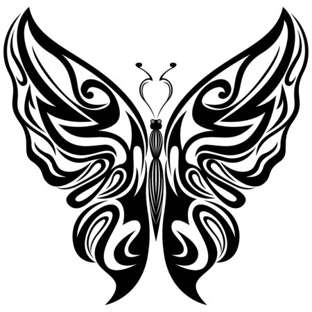 Black ornamental stencils of beautiful butterfly isolated on the white background, hand drawing vector illustration Illusztráció