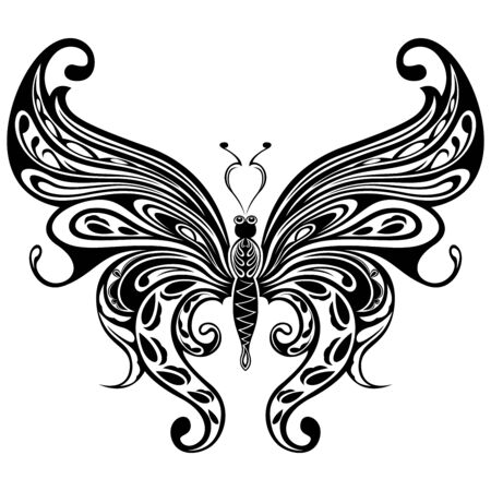 Black ornamental stencils of beautiful floral butterfly isolated on the white background, hand drawing vector illustration