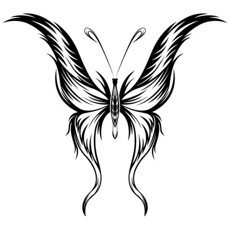 Black beautiful butterfly on the white background, hand drawing vector artworks Illusztráció