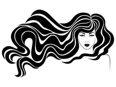 Stylized fashion woman with long hair in flow and sensual face, black illustration isolated on the white background for cosmetic products design
