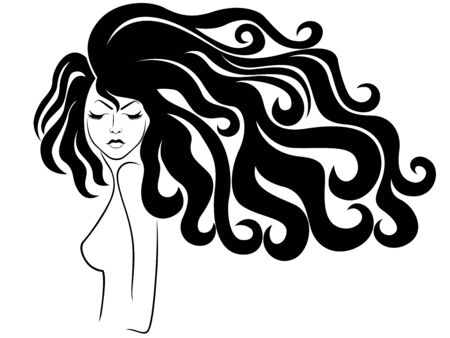 Charming lady with luxuriant wavy beautiful hair and closed eyes, hand drawing black illustration isolated on the white background