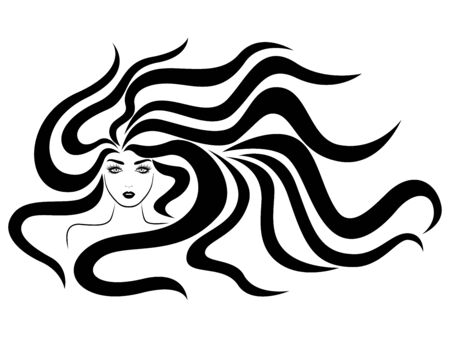 Elegant and charming lady with beautiful hair in flow, hand drawing black illustration isolated on the white background
