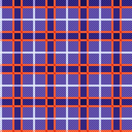 Rectangular seamless vector pattern as a tartan plaid mainly in violet hues and orange, white colors
