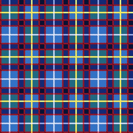 Rectangular seamless vector contrast pattern as a tartan plaid mainly in blue and turquoise, red, yellow colors 일러스트