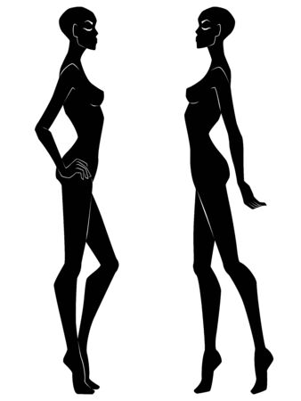 Two silhouette of abstract attractive women with bald head and closed eyes isolated on the white background, hand drawing outline